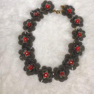 J crew necklace! Grey flowers!